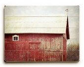 Modern Rustic Barn Art, Wood Plank Art, Red Barn on Wood, Ready to Hang Art, Rustic Red Barn photograph, Wood Plank Sign, Country Decor
