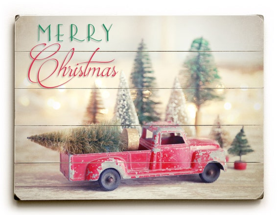 christmas sign wood plank art christmas red truck and trees