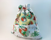 SALE!!! Drawstring Bag: Sock Knitting Project Bag Featuring a Fox Theme