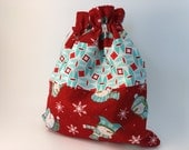 Drawstring Bag: Sock Knitting Project Bag Featuring Winter Snowman