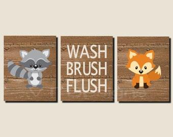 Bathroom Decor, Kids Bathroom Art, Woodland Animals, Woodland Bathroom Art, Wash, Brush, Flush, Fox, Raccoon, Set of 3, Prints or Canvas