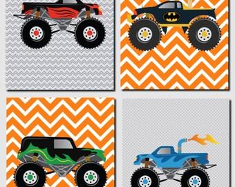 Monster Trucks Wall Art, Boy Nursery Art, Kids Wall Art, Toddler Boys Room Decor, Gray, Orange, Blue, Red, Big Trucks, Set of 4 Prints
