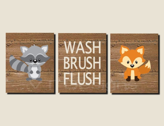 Bathroom decor kids bathroom art woodland animals woodland for Animal bathroom decor