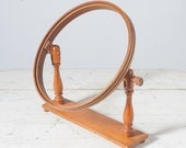 Vintage Wooden Embroidery Hoop with Stand, Primitive Antique, Folk Art Hoops & Frames. Sewing Needlecraft Supplies