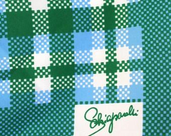 Retro scarf by Schiaparelli. Tartan, plaid, checkered, blue, green, white, kelly green, mod, funky.