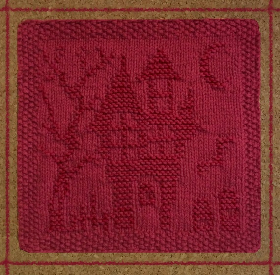 haunted house dishcloth halloween knit dish cloth