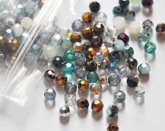 200 beads- Crystal Glass Faceted Round Beads 4mm MIX COLOR SET-(32QZ04-MX27)