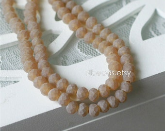 95pcs Faceted Rondelle Frosted Glass Beads 4x6mm Matte Amber - BZ06-116
