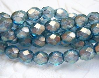 Czech 6mm faceted Halo Shadows fire polished finished bead lot of (25)  - AZ77
