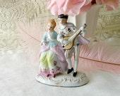 Vintage bone china pastel Victorian Couple Figurine, Marie Antoinette, Colonial Couple Figurine