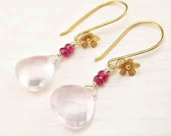 Gold Rose Quartz Earrings, Hot Pink Corundum Quartz, Pink Gemstone Earrings Pink Dangle Gold Dangle Earrings Gold Flower Earrings Pink Drop