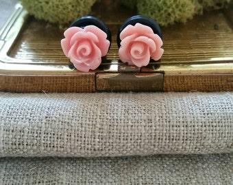 Flower Plugs, Wedding Gauges, Mauve, Pink, Roses
