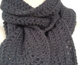 The Papi Collection, Crochet Men's Scarf, Crochet Charcoal Scarf, For HIM, Unisex Scarf, Chunky Scarf
