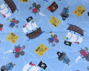 Pirate  Flannel  Design Flannel  Cotton Fabric   1/2  Yard