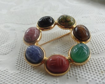 Vintage SCARAB Brooch with color stones lovely