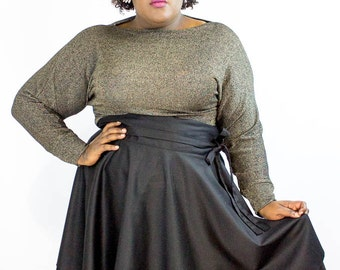 Plus size Gold Boat neck Top