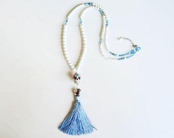 Tassel Statement Necklace, Beaded Sugar Skull Necklace, White Aqua Blue Necklace Dia De Los Muertos