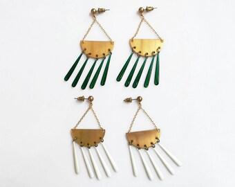 Chandelier Statement Earrings, Resin Drop Dangle Earrings, White Gold Earrings
