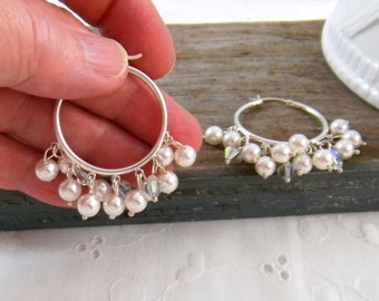 Hoop Earrings Pearl, Pearl Cluster Earrings, Sterling Silver Hoop Earrings, Bridal Jewelry, Wedding Jewelry