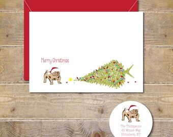 Christmas Cards, Holiday Cards, Dogs, Dog Christmas Cards, Bulldogs, Handmade, Bulldog Christmas Cards, Dog Holiday Cards, Christmas Tree