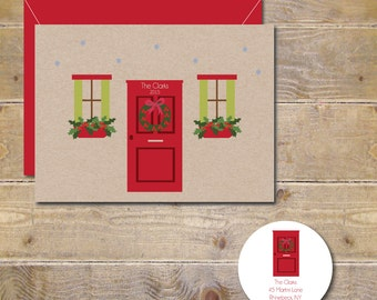 Christmas Cards, Mistletoe, Holiday Cards, Christmas Card Sets, Front Door, Christmas Wreath, Handmade, Cards