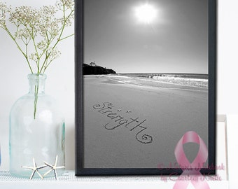 The Joy of The Lord is my Strength PRINT- Beach Decor- Inspirational Wall Art Makes a unique gift - Wall Art Breast Cancer