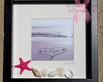 Breast cancer survivor framed wall art - Beautiful Beach Decor - Breast cancer gifts- Cancer gifts- Unique housewarming Gift