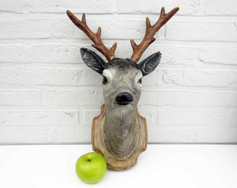 Vintage faux taxidermy ROE HEAD⎮painted plaster hunting trophy⎮removable antler⎮ country chic rustic decor⎮loft industrial