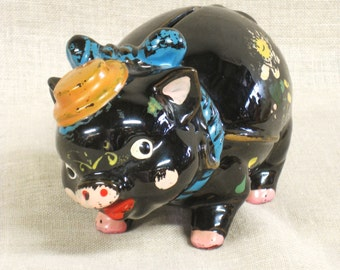 Vintage Ceramic Pig Piggy Bank, Coin Savings Bank, Black, Animal, Flowers, Hand Painted, Piggy, Piglet, Country Style, Collectibles