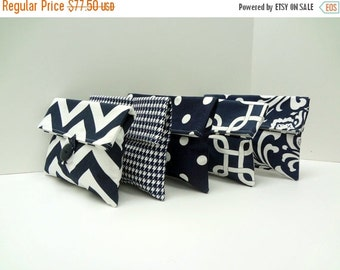 ON SALE Navy and White Clutches Bridal Party Gifts Set of 5