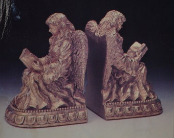 Angel Bookends//Polyresin Golden Angels With Books Bookends//Vintage CBK LTD LLC Bookends//Angel Statues//New In The Box Bookends//1996