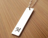Sterling Silver Initial Bar Necklace, Vertical Bar, Silver Initial Necklace, Silver Bar Necklace, Sterling Silver Flat Bar Necklace