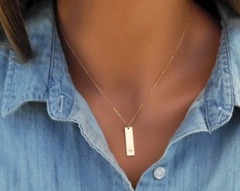 Initial Bar Necklace, Vertical Gold Bar Necklace, Name Plate Necklace, 14KT Gold Filled, Gold Bar Pendant, Personalized, Gold Bar Necklace