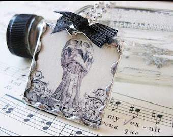 Inspirational Skeleton Anatomy Victorian Cameo Pendant Necklace-Follow Your Dreams