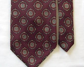 Vintage Abercrombie & Fitch Wide Wool Challis Necktie - Geometric Medallion Patten - Chocolate Brown w/ Red and Gold Tie