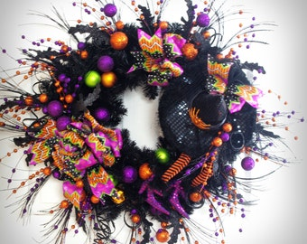 Halloween Wreath * Halloween Decor * Witch Wreath * Wicked Witch * Halloween Door Decorations * Black Wreath * EnglishRoseDesignsOh