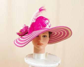 Hot Pink Hat, Pink Straw Hat, Pink and Cream Hat, Wide Brim Hat, Derby Hat, Pink Straw Hat, Formal Hat, Pink Floppy Hat