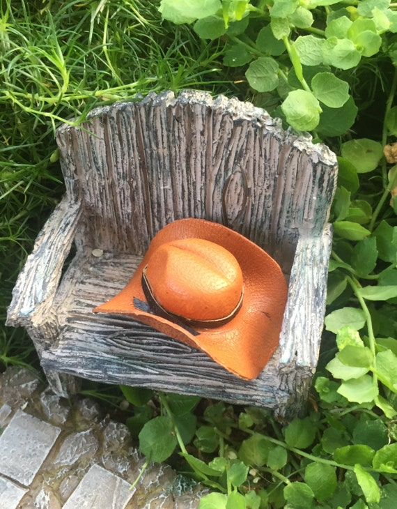 Miniature Cowboy Hat, Golden Brown Leather with Brown Band, Dollhouse Scale 1:12 Miniature