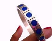 Mid Century Modern Sterling Silver Oval Bangle Bracelet with Lapis Enamel Circles Double Closure Marked 925 and FS Franz Scheuerle 40 Grams