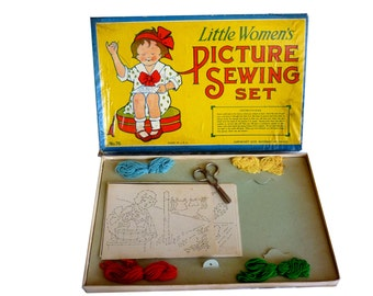 Copyright 1932 Little Women's Picture Sewing Set - 1930s Girls  Embroidery Game - Rosebud Art No. 76 - Yarn Scissors Pictures 1930s Prop