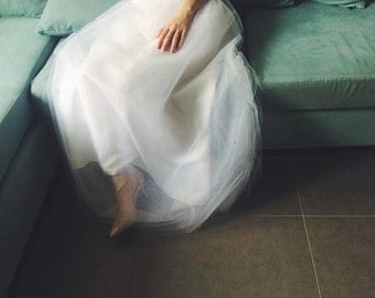 Long tulle Wedding dress / white Floor length strapless wedding gown - made to order