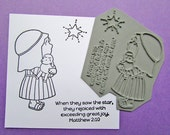 Shepherd & Sheep, Unmounted Rubber Stamp, Paper Crafts, Christmas, Stamps, Lamb, Star, Illustrated Faith, Journaling Bible, Scrapbooking
