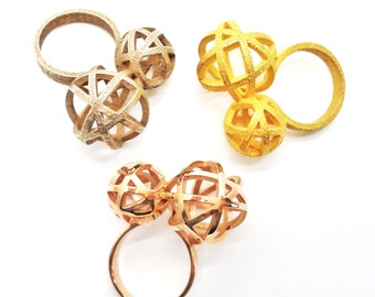 Erin Ring // Geometric Ring // 3D Printed Steel Brass Silver Ring // Gold-Plated // size 8.0 // Conversation Starter