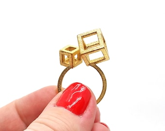 Two Cubes Geometric Ring // 3d printed steel brass silver ring // all sizes available