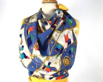 Vintage 1980's Scarf, Nautical Scarf, Blue, Yellow, Multicolor, Sailing Flags, Rope, Stars, Bob Mackie, Silk, Large, NOS, Tags, Never Worn