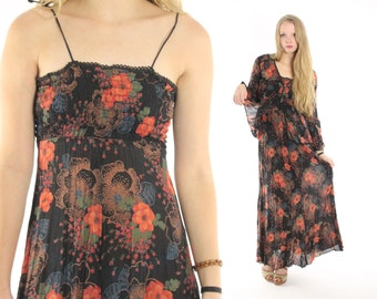 Vintage 70s Maxi Dress Matching Jacket Blouse Black Floral Dress Blazer Hippie Dress Bohemian Dress Long Sleeve Blouse 1970s Small S