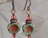 Sea foam and peach tropical flower earrings
