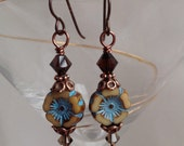 beige and turquoise flloral earrings