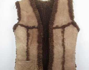 Vintage 1970's Suede Leather & Dark Brown Shearling Vest - Man's Size S or Woman's M
