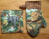 Cooking Set - Big Game - Oven Mitt Potholder - Insulated - Side Tab - Cuff